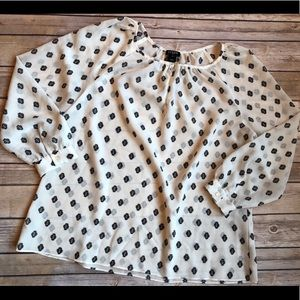 J. Crew long sleeve white patterned top